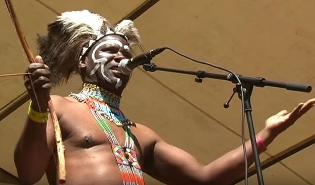 One of South Africa's foremost bow instrument practitioners Dizu Plaatjies. (Image from YouTube).