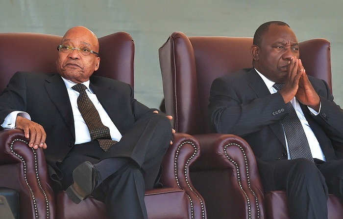 "South Africa's deputy president Cyril Ramaphosa (R) and President Jacob Zuma. Ramaphosa has described the ANC government as being at war with itself. <a href=""https://www.flickr.com/"" target="" _blank"">Flickr</a>"