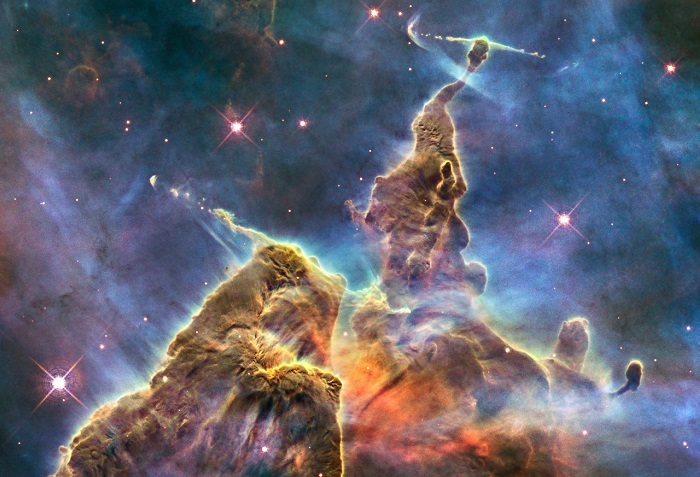 Our solar system was formed from a minor swirling offshoot during a supernova explosion, such as the Carina Nebula.