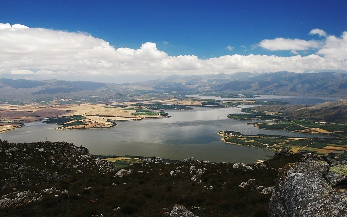 The Theewaterskloof Dam has the capacity of almost all the other 13 dams supplying Cape Town's water combined. Shown here in 2009.