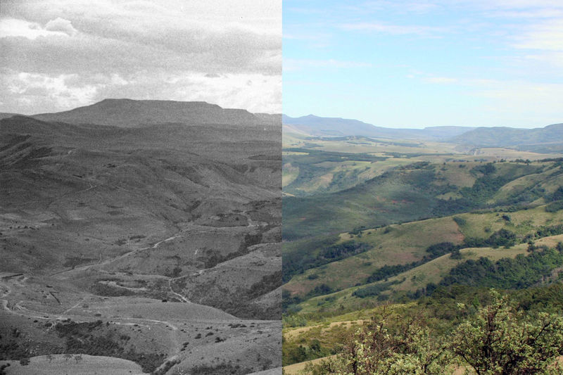 These two photos, taken 73 years apart (in 1945 and 2018), illustrate the change in woody plant cover on the Jumbla Range in the Eastern Cape of South Africa. (left: Acocks, John Phillip Harison © SANBI [1945] and licensed under Creative Commons licence CC-BY; right: Zander and Samantha Venter)
