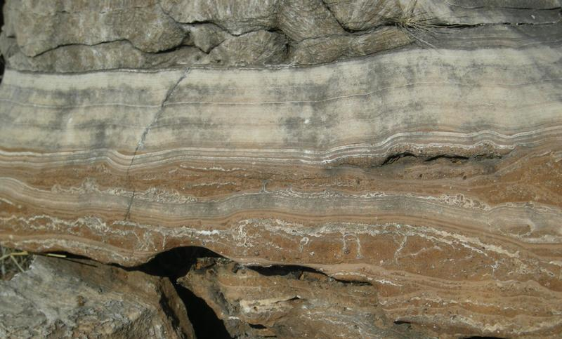 Massive layers of flowstone like these form gradually over time as water flows into caves. By dating these flowstones in the Cradle of Humankind, Dr Robyn Pickering and her colleagues were able to figure out a timeline for human evolution in South Africa. <b>Photo</b> Robyn Pickering.