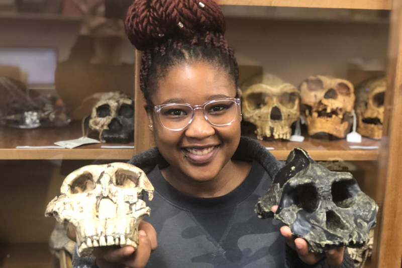 UCT postgraduate researcher Nomawethu Hlazo is studying fossils of Paranthropus, a distant human relative that was discovered in east and South Africa.