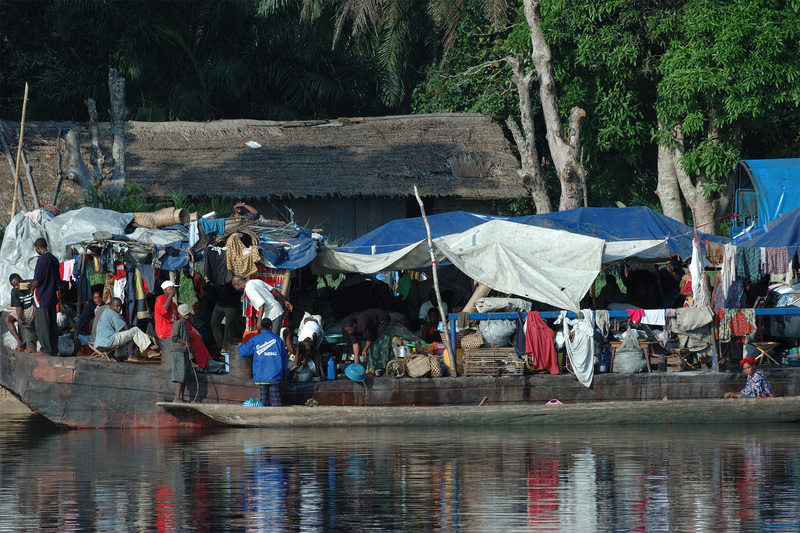 Refugees living in makeshift tents on the Congo River.