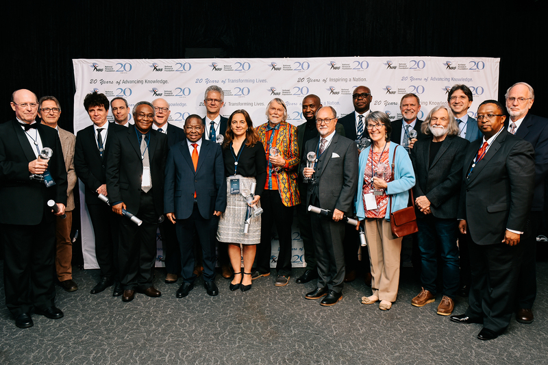 South Africa's A-rated researchers recognised at the 2019 National Research Foundation (NRF) awards with Minister and Deputy Minister of Higher Education, Science and Technology, Dr Bonginkosi Nzimande and Buti Manamela, and Dr Molapo Qhobela, NRF CEO.
