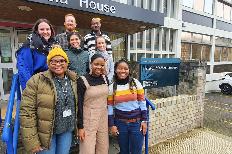The PhD candidates selected as the first cohort of the UCT–Bristol University Researchers without Borders programme: (back row, left to right) Kathleen Kehoe, Ryan Aylward, Kennedy Kipkoech; (middle row, left to right) Nina Abrahams, Shani de Beer; (front row, left to right) Tanja Gordon, Lucinda Tsunga, Bongai Munguni.