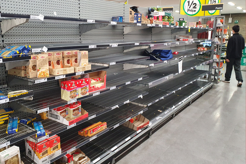 Panic buying has left shelves empty around the world.