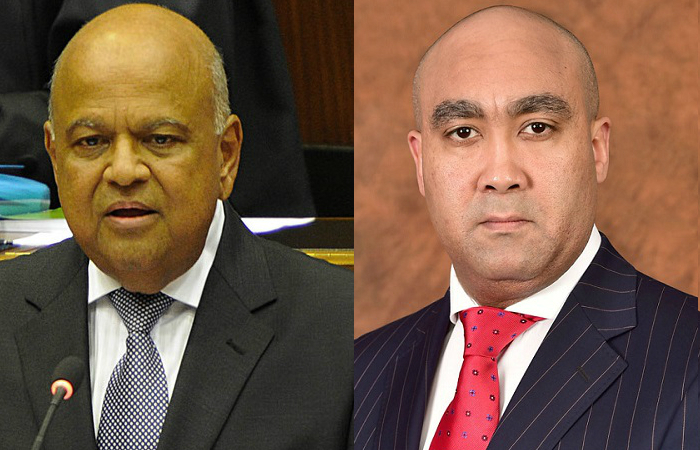 Head of South Africa's National Prosecuting Authority, Shaun Abrahams (right), dropped a fraud charge against the finance minister Pravin Gordhan (left).