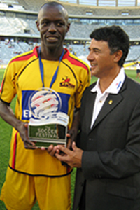 Musa Otieno and his coach