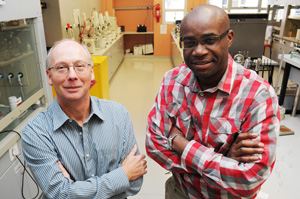 Dr Leslie Street and Prof Kelly Chibale