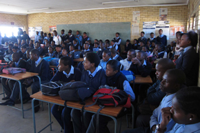Learners from the Ibhongo Secondary School in Soweto