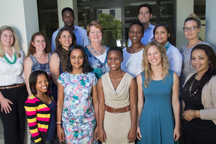 The team at the Bertha Centre for Social Innovation and Entrepreneurship, winners of this year's Social Responsiveness Award. From the back (left to right): Barry Panulo and Dr Francois Bonnici. Middle row: Louise Albertyn, Susan De Witt, Katusha de Villiers, Nicolette Laubscher, Ncedisa Nkonyeni, Olwen Manuel, Tine Fisker Henriksen. Front row: Zikhona Stuurman, Sulona Reddy, Tsakane Ngoepe, Aunnie Patton, Stacey Thorne.