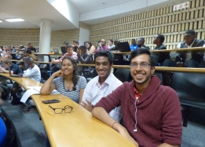 Ra'eesah Manie, Tej Bagirathi and Aneet Daji (Commerce Students' Council reps) at the forum.