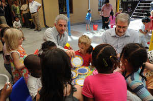 VC takes tea with children at the UCT Educare Centre