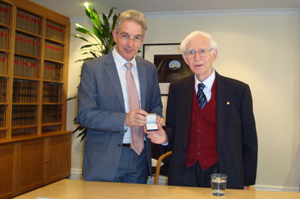 VC Dr Max Price (left) awards the Vice-Chancellor's Medal to Nobel Laureate Sir Aaron Klug