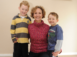Family physician Dr Vanessa Perrott with sons Jono and Timothy