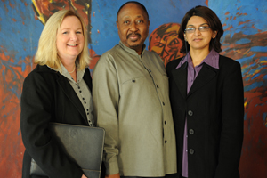 Caretakers: Margie Tainton (left) and Miriam Hoosain (right), with deputy vice-chancellor Prof Thandabantu Nhlapo