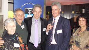 Dr Max Price (middle) in London with Profs Shula and Isaac Marks, and Paul Wilhelmij and Maria Callias