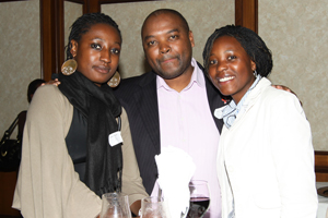 Lungile Jacobs (middle) with alumnae Tho Sithole, left, and Nqobile Ndlovu