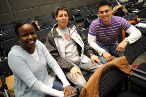 Cosmology students Anne Marie Nzioki, Hassan Bourhrous and Sean February