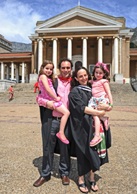 Cal Volks (right) with partner Dr Sascha Edelstein and their daughters Leila and Kiera
