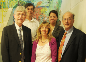 (Front from left) Dr Francis Collins, Prof Heather Zar, Dr Roger Glass, and (back, from left) deputy dean Prof Gregory Hussey and Stacy Wallick