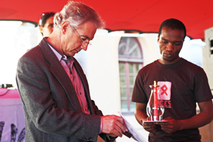 VC Dr Max Price and student Luke Nkosi