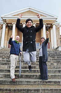 Yu-Hsiang Lu congratulated by Prof Mark Graham (left) and Prof Alex Watson