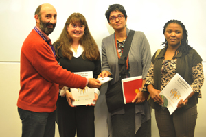 (From left)Prof Leslie London, Nicole Fick, Pregs Govender and Prof Nomafrench Mbombo