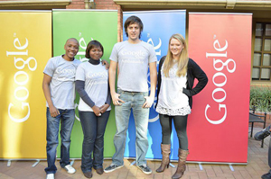 (From left) Linda Mahloko, Joyce Mwangama, Justin Alvey and Kirsten Eddey are four of UCT's five Google Student Ambassadors. (Absent - Ludwick Marishane.)