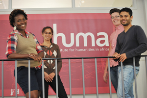 (From left) Sarai Chisala, Safiyya Goga, Bianca Camminga and Justin Brown are HUMA's first doctoral researchers.