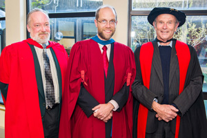 Prof Martin Wittenberg (middle), Prof Don Ross (left) and Emer Prof Francis Wilson