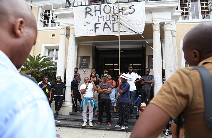 With the occupation of 'Azania House' by Rhodes Must Fall supporters in full swing, Chumani Maxwele addresses students on 23 March. Photo by Je'nine May.