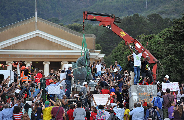 Students celebrate the removal of the Rhodes statue on 9 April. Photo by Michael Hammond.