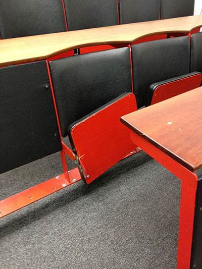 Prior to the upgrades, many classrooms were riddled with broken seats.