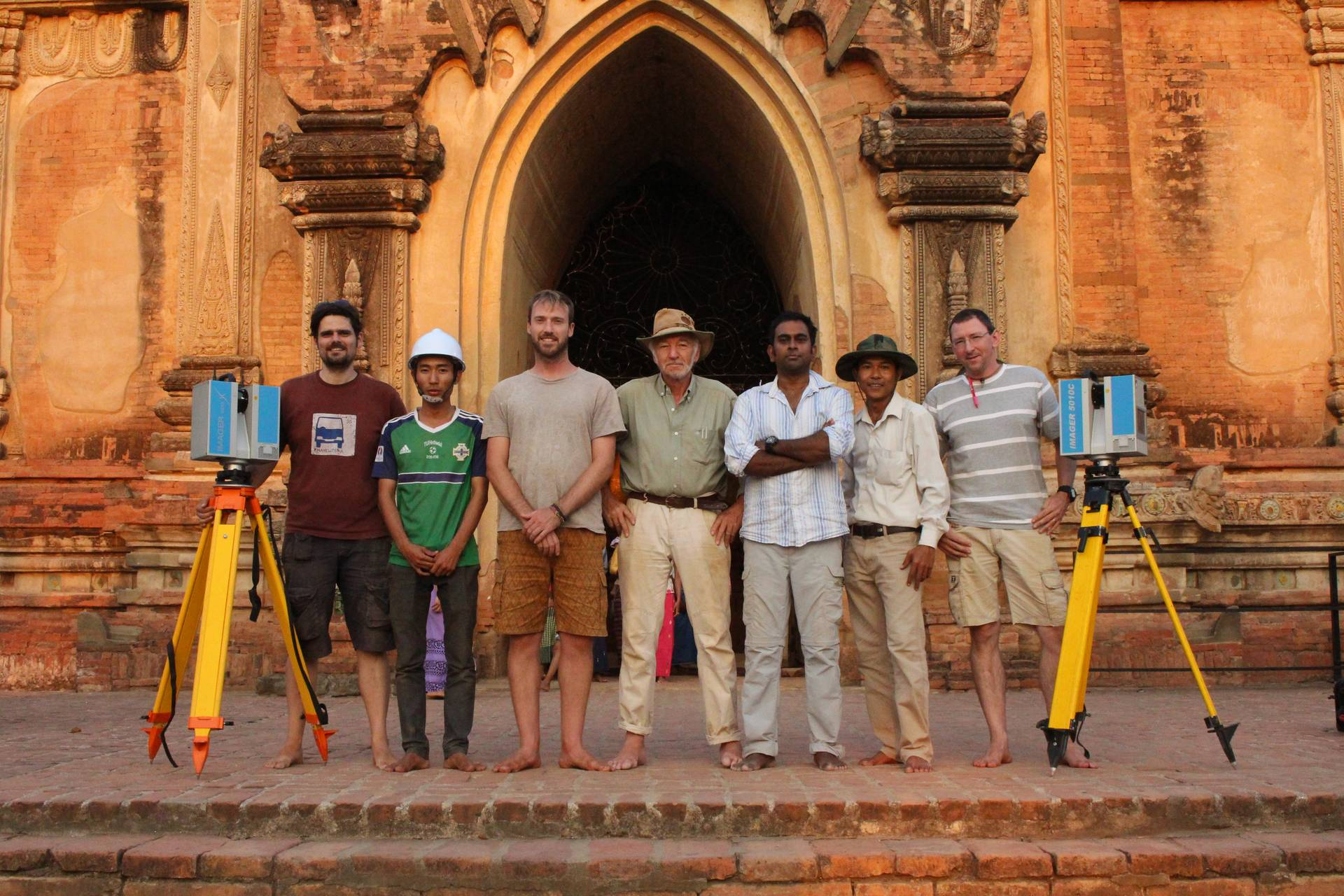 The Zamani team plus two assistants: (from left) Christoph Held, Thu Ya Kyaw (assistant), Stephen Wessels, Emer Prof Heinz Ruther, Roshan Bhurtha, Soe Win Htay (assistant) and Ralph Schroeder.