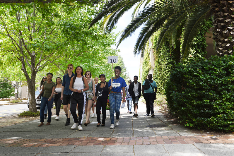 Freshers on the plaza during their tour of UCT's upper campus.