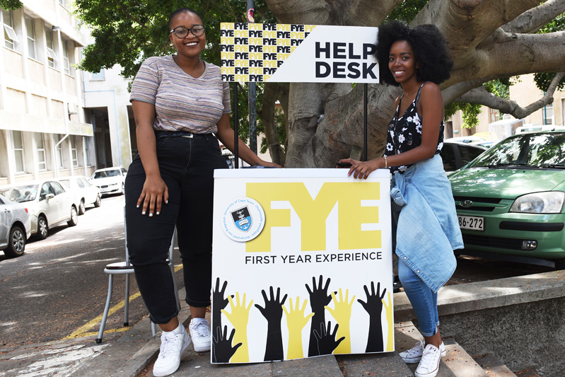 Current students were on hand to assist Freshers during O-week. First Year Experience booths were dotted all around campus.
