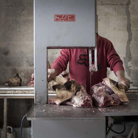 """I think these photographs speak a little bit about survival and dominance between human and animal. Here is a man working with dead flesh. There is that division between man, animal, life, death and sacrifice."""
