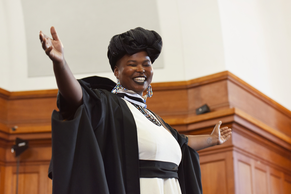 Sibahle Sky Dladla, a member of the musical group Azanian Aesthetic, broke out in song after receiving her degree.