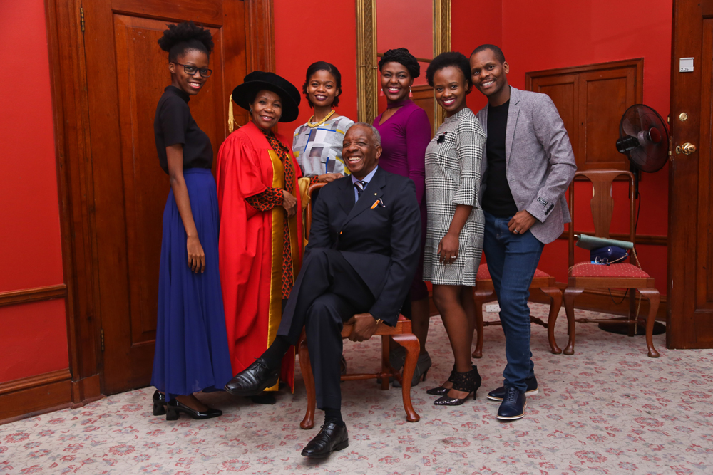 Justice Yvonne Mokgoro, who was awarded a Doctor of Law (honoris causa) from the Faculty of Law for her notable contributions to transformation and social justice, poses with her family.