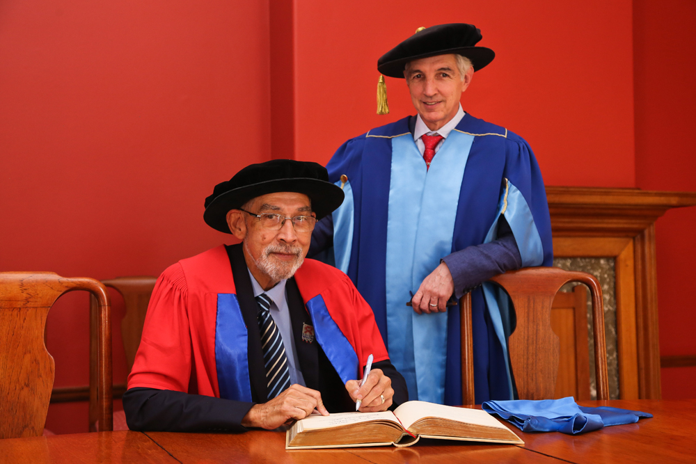 Professor Brian O'Connell, former rector and vice-chancellor of the University of the Western Cape, received a Doctor of Education (honoris causa) from the Faculty of Humanities for his engaged leadership in education and development.