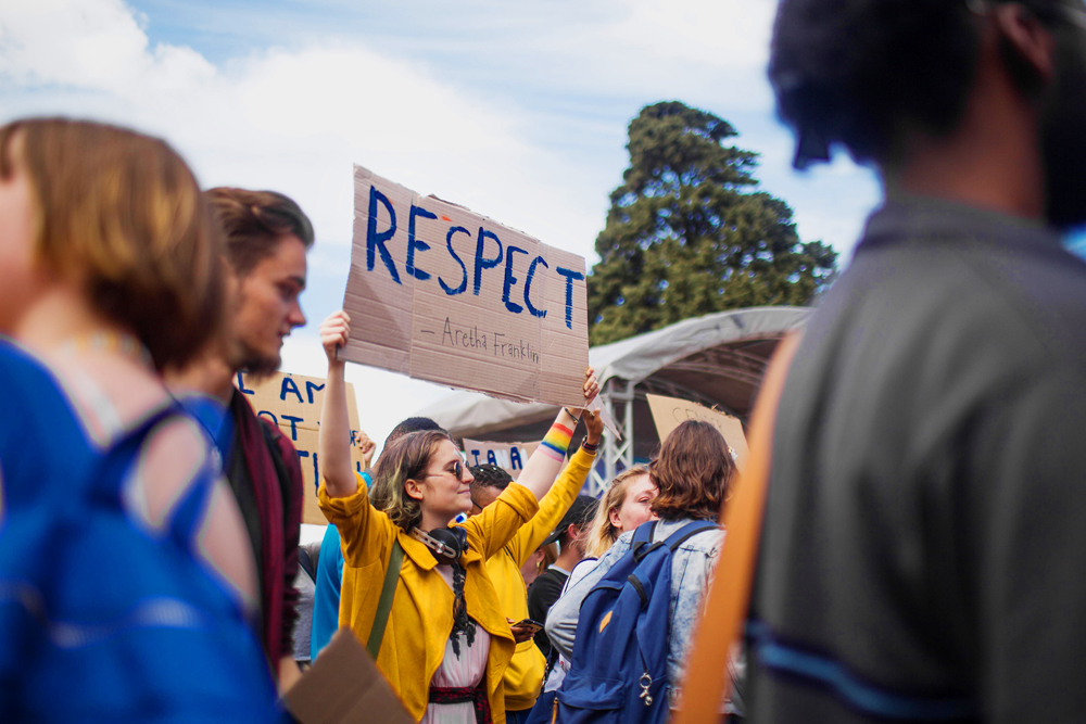 Students demand respect for UCT's queer community at the Pride march on the plaza, held on 11 October.