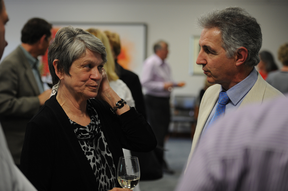 Dr Max Price with former UCT Libraries Executive Director Joan Rapp at her farewell in 2011.