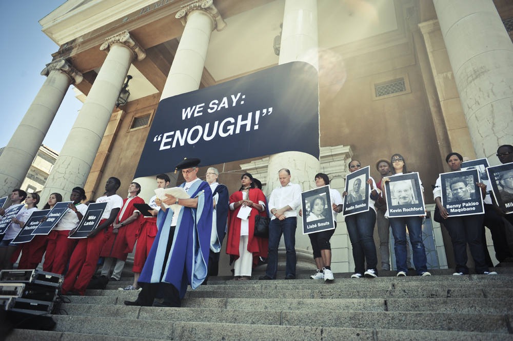 Dr Price was a speaker at the We Say Enough protest outside Memorial Hall in 2013. The event, which was led by the senior leadership group and the Students' Representative Council, was held to protest violent crime against women.