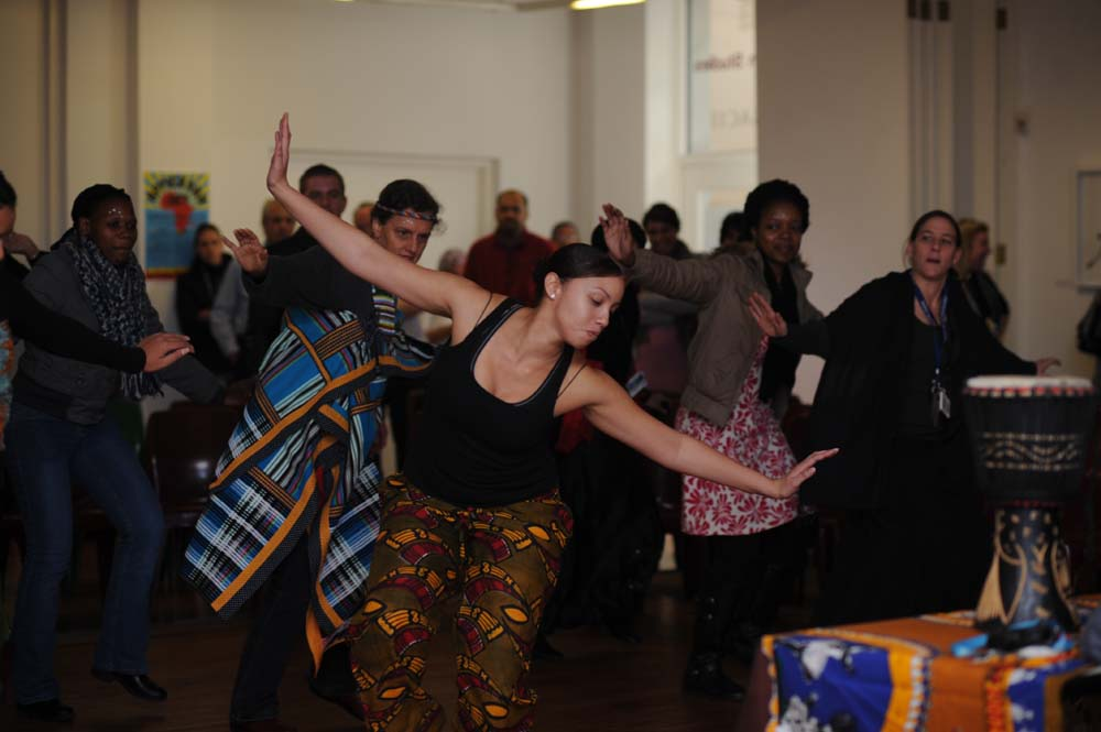 The Faculty of Commerce welcomed the Centre for African Studies on 25 May 2011, for feel-good African dance, with Janine Booysens (dance student).
