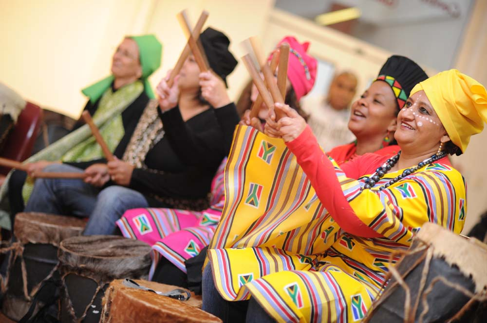 The Faculty of Commerce invited the Drum Café to lead the Africa Month celebrations on 25 May 2012. Pictured from right: Asia Brey, Nonnie Falala, Eleanor Williams, Fatima Driver and Rachel Esterhuizen.