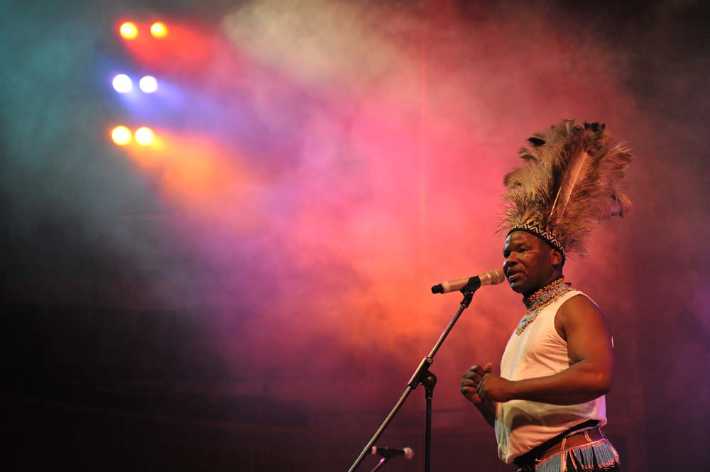 Dizu Plaatjies, UCT's head of African Music, performing at the Baxter Theatre.