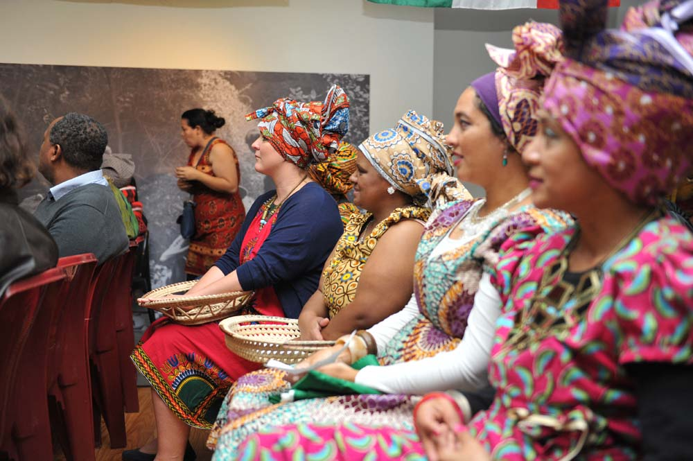 Women in traditional dress for Africa Day celebrations on 26 May 2015.