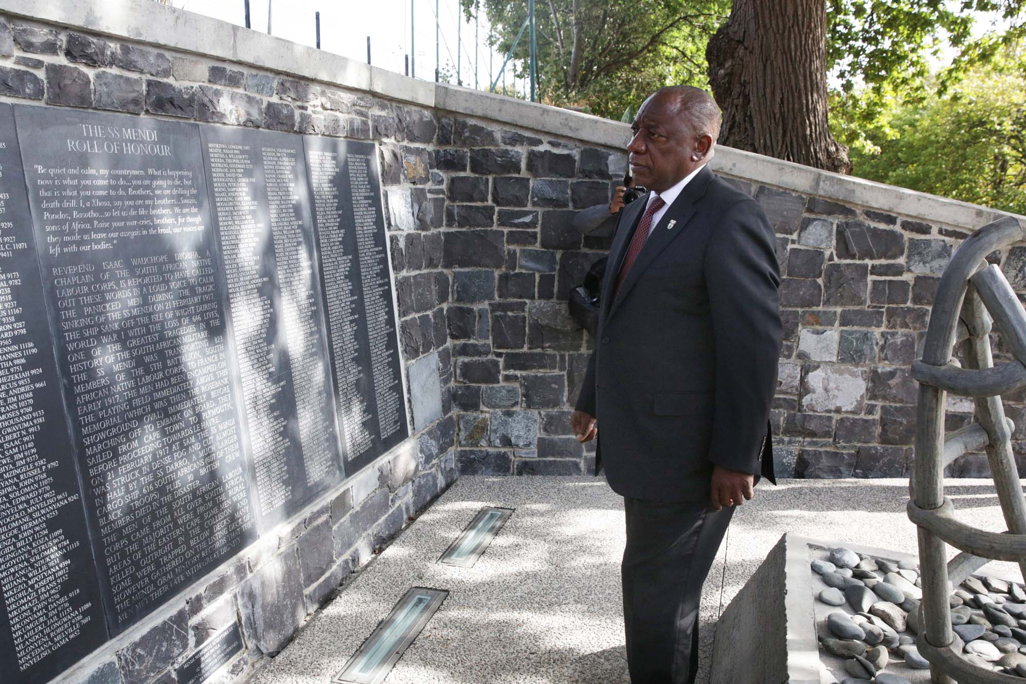 President Cyril Ramaphosa visited lower campus on 21 February to lay a wreath at the SS <i>Mendi</i> Memorial in honour of the South African soldiers who died when the ship sank in 1917.